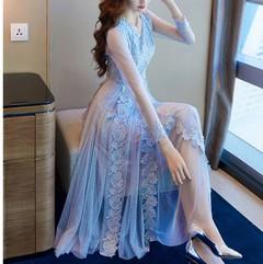 New Womans Lace Dresses V neck Long Sleeve Mesh Slim Romantic Cocktail Elegant Medium Long Skirts s light blue