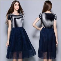 Woman Stripe Slim Dress European Fashion Casual Round Collar Short Sleeve False 2 piece Medium Skirt s picture color