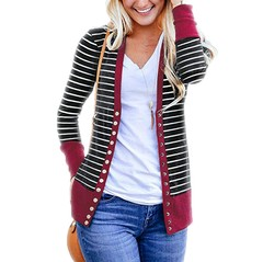 Womans Striped Cardigan Coat Long Sleeved Button Casual Fashion Printed Patchwork Slim Top Jacket red s
