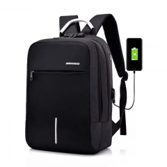 Backpack USB Charging Men's Large Travel Bag For Teenagers Waterproof Backpack black 15-16 inches