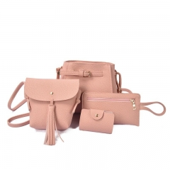 Four-piece handbag New Ms. Bucket Shoulder Bag Multi Color PU Leather pink as picture