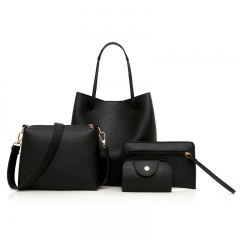 Women's Handbags Simple High Quality Soft Leather Bag Four Sets OF Tide Models black as picture