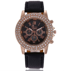 Double-Faced Full-Textured Casual Women's Watch Stylish Roman Numeral Belt Quartz Watch black