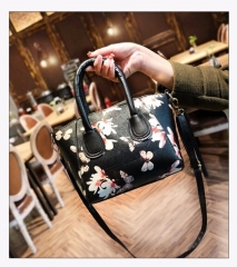 Printed Women's Handbags Shoulder Bag Simple PU Zipper Bags black as picture