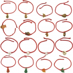 Hot Peach Kernel Imitation Jade Wood Weave Red Rope Bracelet Red One size