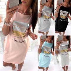 sexy ladies fashion 2018 new summer women's girl's long t-shirt tops dress#3 white s