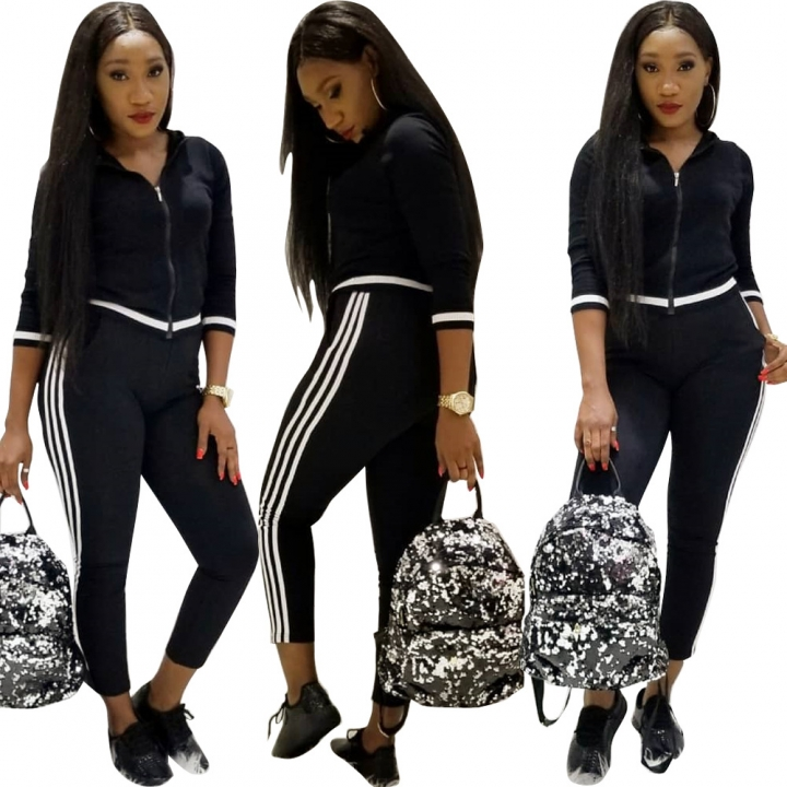0f0490f895803 sexy ladies fashion african women fashion clothes sports wear coat and  trousers 2pcs black l