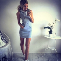 2018 Hot Women Sexy Summer Evening Party Casual Sleeveless Dresses Lady's Mini Dress s gray