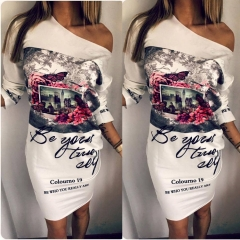 2018 Plus Size Women Clothing, Female Floral Print Party Dresses Sexy Oblique Neck Half Sleeves s white