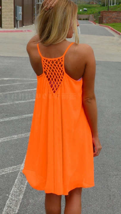 a704a72455 2018 Women beach dress fluorescence female summer dress chiffon voile women  dress summer 3xl orange