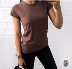2018 Plain T Shirt Women Cotton Elastic Basic T-shirts Female Casual Tops Short Sleeve  Women Coffee s
