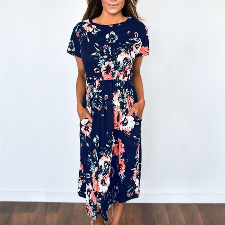 c53035e0833 2018 Summer Long Dress Floral Print Boho Beach Dress Tunic Maxi Dress Women  Evening Party Dress