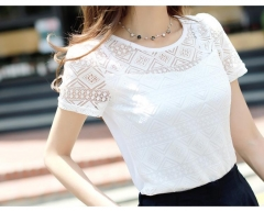 2018 Women Clothing Chiffon Blouse Lace Crochet Female Shirts Ladies Blusas Blouses slim fit Tops white s