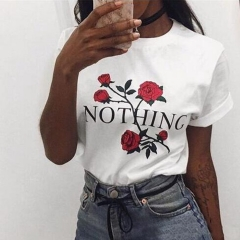 2018 Nothing Letter Rose Print Female Harajuku Summer  Casual Clothing Punk Tee Tops white s