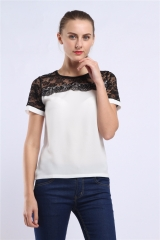 2018 Women Blouses Summer Lace Chiffon Blouse Casual Blusa Feminina Tops Fashion  Femme Shirts white m