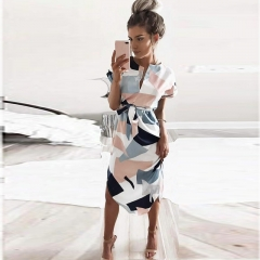 2018 Summer Dress Lady beach out female Geometric Output Beach Dress Women's Retro dress With Belt s white