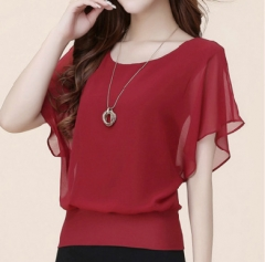 New Womens Tops Fashion 2018 Women Summer Chiffon Blouse Plus Size Ruffle Short Sleeve Casual wine red s