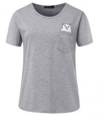 2018 Summer Women Casual Lady Top fashio Tshirt Female Brand Clothing Printed Pocket Cat Top Cute gray s