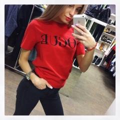 2018 New Summer T-Shirt Women VOGUE High Cotton Fashion Print Casual Knitwear Short Sleeve Punk red s