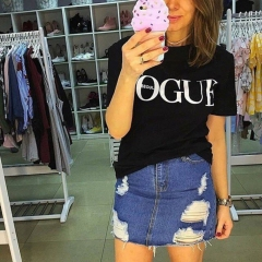 2018 New Summer T-Shirt Women VOGUE High Cotton Fashion Print Casual Knitwear Short Sleeve Punk black s