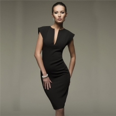 2018  Womens Summer Style Sexy V Collar Cultivation Dresses Spring Vintage Elegant Club Party Dress s black