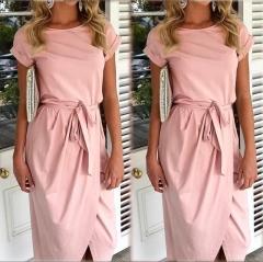 Women Summer Dress Bohemian Asymmetrical Solid Ankle-length Empire O-neck s pink