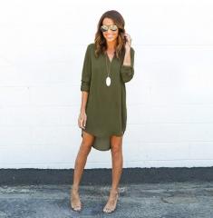 2018 Fashion Women Casual Loose Plus Size Elegant Dress Long Sleeve Irregular Chiffon Dress Vestidos s green
