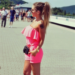 2018 Summer Women Fashion Casual Ruffles Strapless Waist Tightening Candy Color Womens Dress s pink