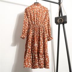 Summer Autumn Chiffon Print Dress Casual Cute Women floral Long Bowknot Dresses Long Sleeve Vestido s Long sleeve A-1