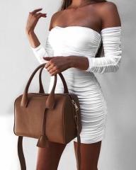 2018 Autumn Winter Bandage Dress Women Sexy Off Shoulder Long Sleeve Slim Elastic Party Dresses s white