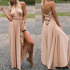 Sexy Long Dress Bridesmaid Formal Multi Way Wrap Convertible Infinity Maxi Dress Hollow Out Party s khaki
