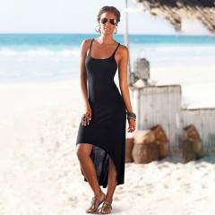 2018 New Women Summer Party Long Dress Beach Dresses Sundress No-frills Black Suspenders Sexy Dress s black