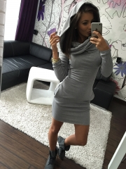 2018 New Fashion Women Dress Long Sleeve Autumn and Winter Warm Dresses Party Club Solid Cotton s gray