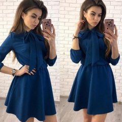 2018 Women Fashion Bow Causal Party Dress Wrist Sleeve A-line O neck Solid Vintage Dress s dark blue