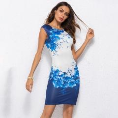 2018 Summer Floral Women Dress Ladies Office Party Dress Vestido Female Slim Sheath s light blue