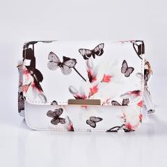 Women Floral leather Shoulder Bag Handbag Retro Female Small Messenger Bag Famous white 19cm x15cm  x6cm