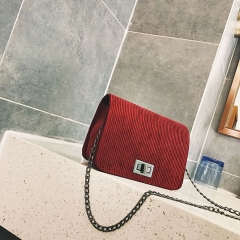 Sling Shoulder & Crossbody Bags Cotton Hasp Solid Chain Women sac a main Women Messenger Bags red 18cm x13cm x7cm