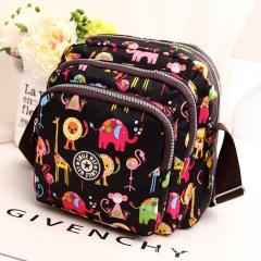 Women Shoulder Bag Female Waterproof Nylon Female Messenger Bags Multilayer Crossbody Bag black 24cm x24cm x8.5cm