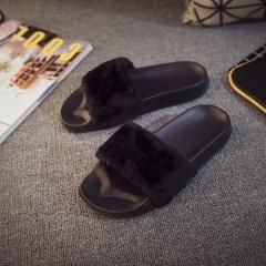 Hot Women Slippers Fashion Spring Summer Autumn Plush Slippers Women Faux  Flip Flops Flat Shoes black 40