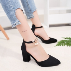 2018 Summer Women Shoes Pointed Toe Pumps Dress Shoes High Heels Boat Shoes Wedding Shoes black 34