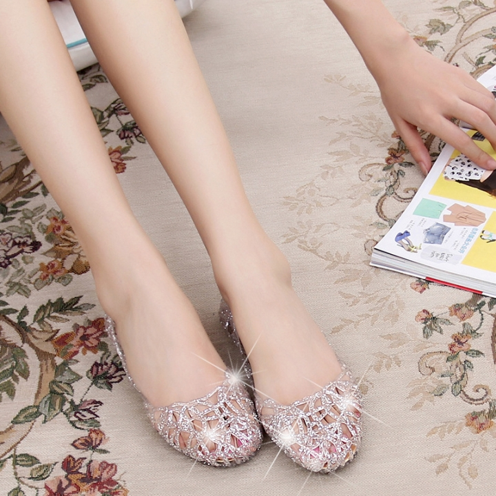 682c314fd3e03 2018 Fashion Lady Girl Sandals Summer Women Casual Jelly Shoes Sandals  Hollow Out Mesh Flats silvery