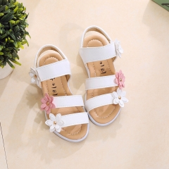 Summer Style Children Sandals Girls Princess Beautiful Flower Shoes Kids Flat Sandals white 21-13.5cm