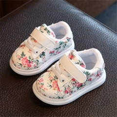 New Kids Shoes For Girls Fashion Children Casual Shoes Floral Cute Toddler Kids Sneakers Breathable Beige 14