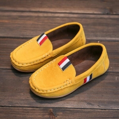 2018Autumn Kids Flock PU Leather Casual Shoes Boys Loafers All Boys Slip-on Soft Breathable Shoes yellow 21