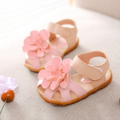 2018 Hot kids shoes summer flower princess girls shoes baby child toe cap covering girls sandals pink 22