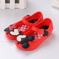 2018 New Mini Shoes Crystal Jelly Sandals Children Shoes Fish Head Melissa Shoes red 24