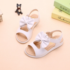 Kids Children girls Sandals Shoes Summer Fashion Bowknot Girls Flat Princess Shoes white 34