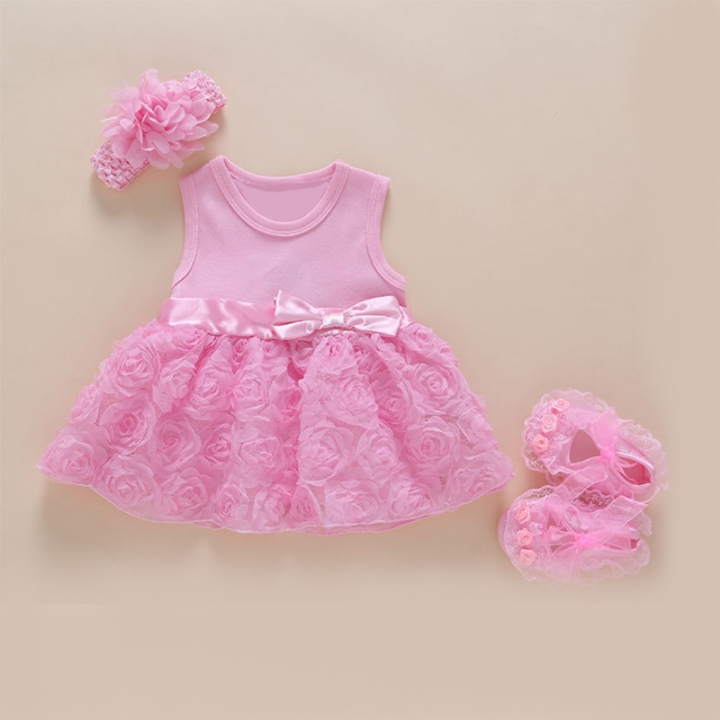 New Born Baby Girls Infant Dress&clothes Summer Kids Party Birthday Outfits Christening Gown Baby pink 12M:9-12month