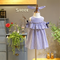 2018 new Kids Baby Girls lovely Clothes Off-shoulder ruffles Party Gown Formal Dresses Stripe blue 90cm