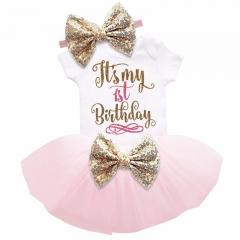 New Baby Girl Clothing Summer Sequin Bow Tutu Newborn Dress (Tops+Headband+Dress) 3pcs Clothes Bebe Pink 80cm